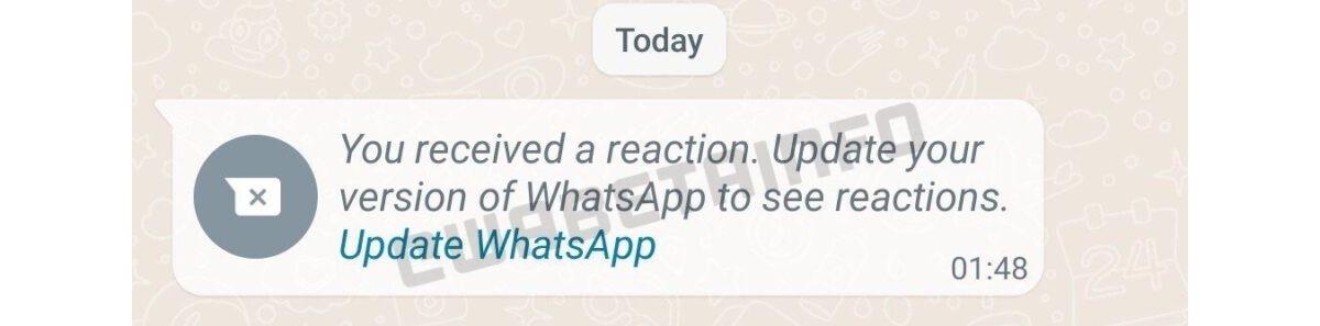 Reaksi pesan datang ke WhatsApp