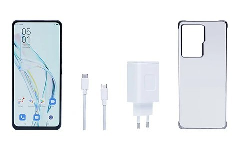 phone, USB-C cable, charger and protective case