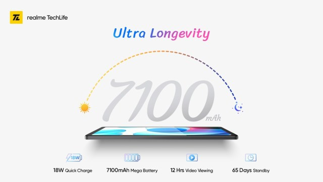 The Realme Pad will have a 7,100 mAh battery with 18W Quick Charge