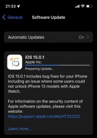 iOS 15.0.1 dan iPadOS 15.0.1