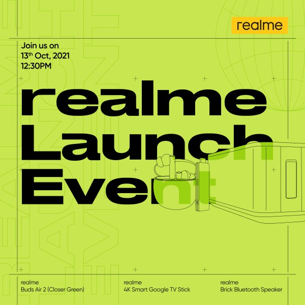 Realme 4K Smart TV Google Stick, Buds Air 2 Closer Green version, and gaming accessories arriving on Oct. 13