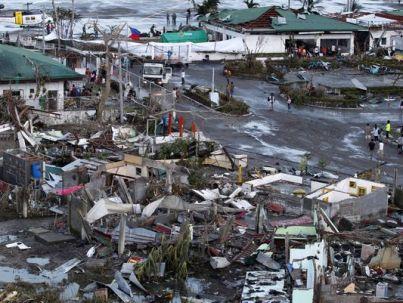 Debris outside the Tacloban City Airport after Typhoon Haiyan hit landfall (November 2013)