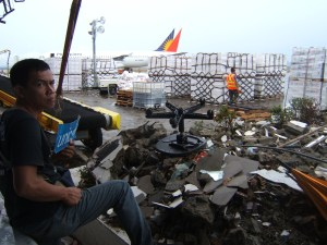 Devastated Tacloban City airport right after Typhoon Haiyan hit landfall