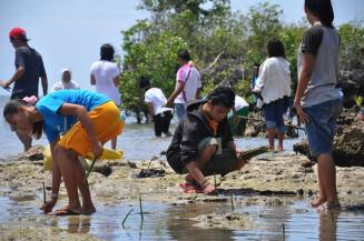 Youth participants planting mangrove trees in Northern Cebu, Philippines