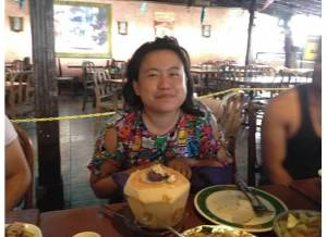 Jeselle Santiago enjoying 'halo halo' mixed tropical fruit, shaved ice and coconut dessert
