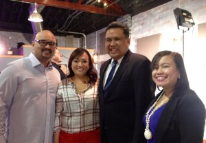 (left to right): Fil-Am NOW! hosts Mark Dinglasan and Donna Reyes interviwed Dale Asis and Jeselle Santiago