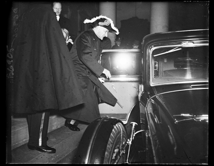 From Belgium. Comte Robert van de Straten-Ponthox, new Belgian Ambassador to the United States, is pictured as he entered his automobile after presenting his credentials to President Roosevelt at the White House