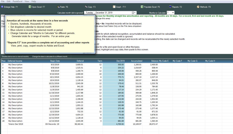 Deferred Income And Revenue Worksheet Amortization Software
