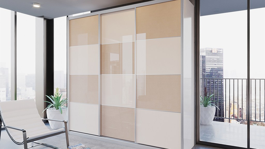 ארון הזזה דלתות HIGH GLOSS כולל חיפוי אלומיניום