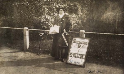photograph - Princess Sophia Duleep Singh selling 'Suffragette' subscriptions, copyright Museum of London