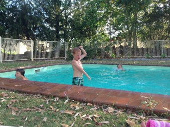 The kids made use of the pool