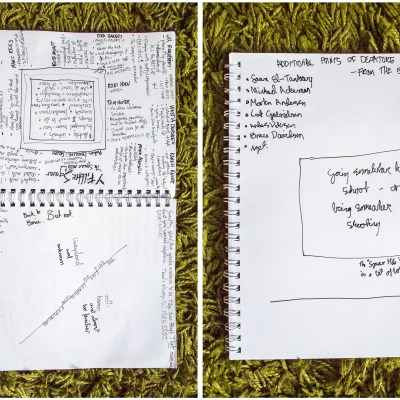 Photograph of notebooks with ramblings of idea development