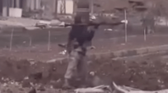 ISIS militant vs Sniper. Photo taken from the video.