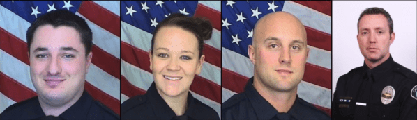 Officers involved in the fatal shoot-out. Photo taken from the video.