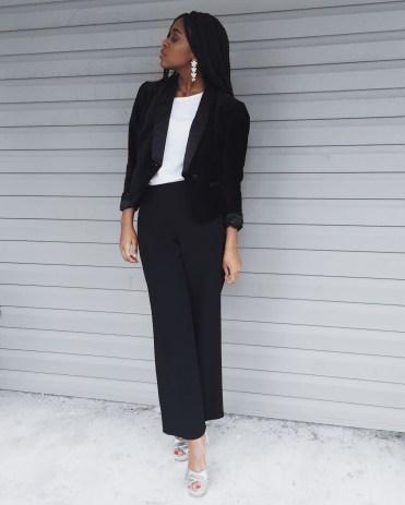 white t-shirt, black blazer, black dress pants, silver heels