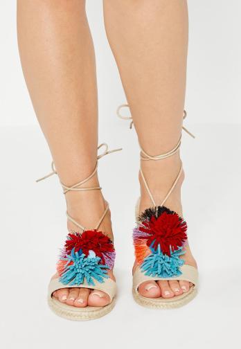 nude-pom-pom-flat-sandals