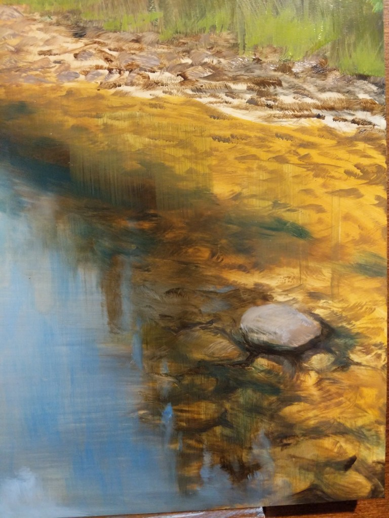 Closeup of Summer River oil painting layers.
