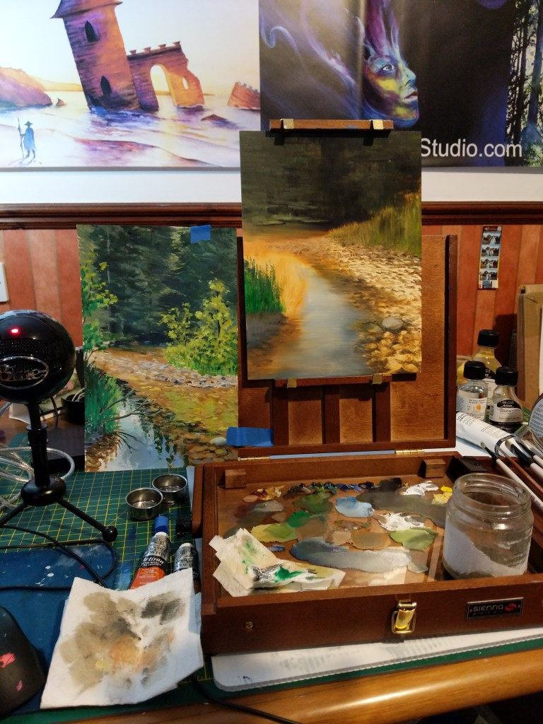 Second session of the Summer River oil painting.