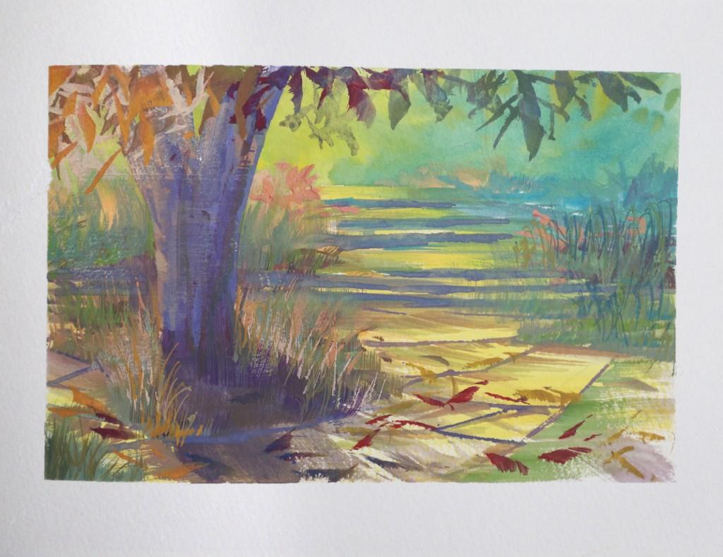 Autumn forest gouache study