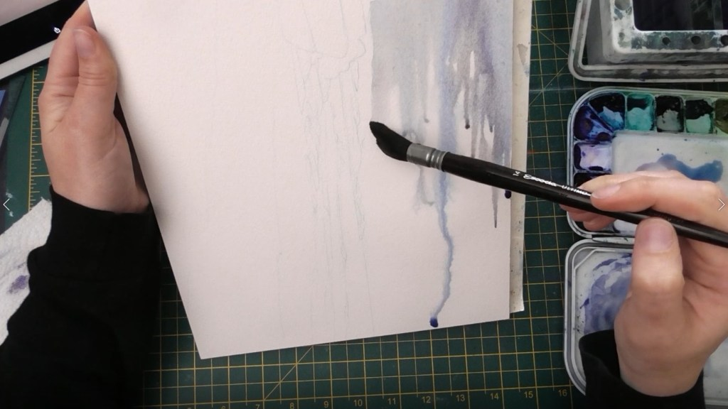 Beach with Wet Sand Watercolor tutorial step 1