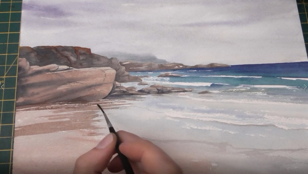 Beach with Wet Sand Watercolor tutorial step 8