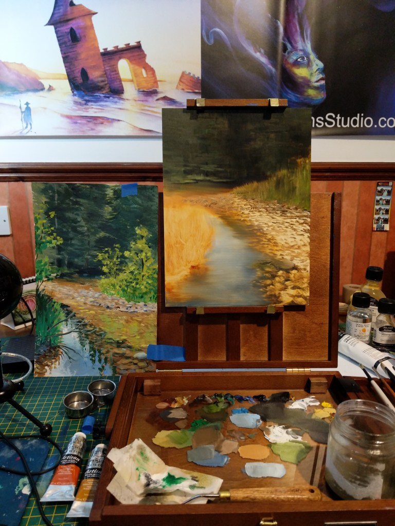 Day 1 of painting summer river oil painting