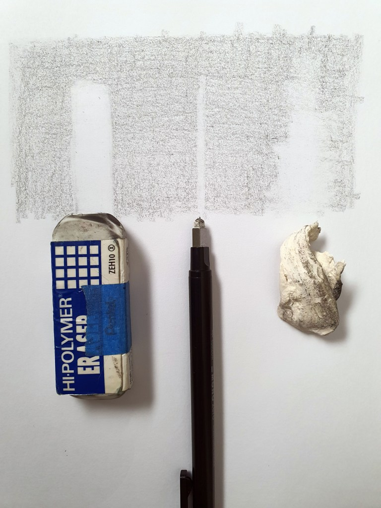 Different types of erasers as drawing tools