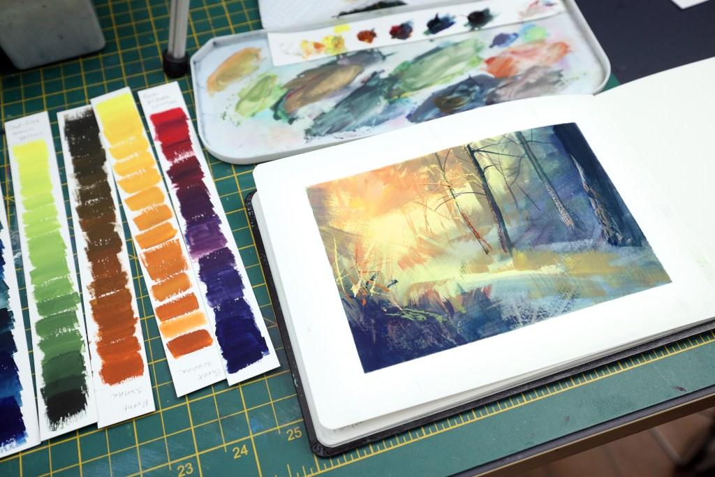 Expressive autumn gouache painting
