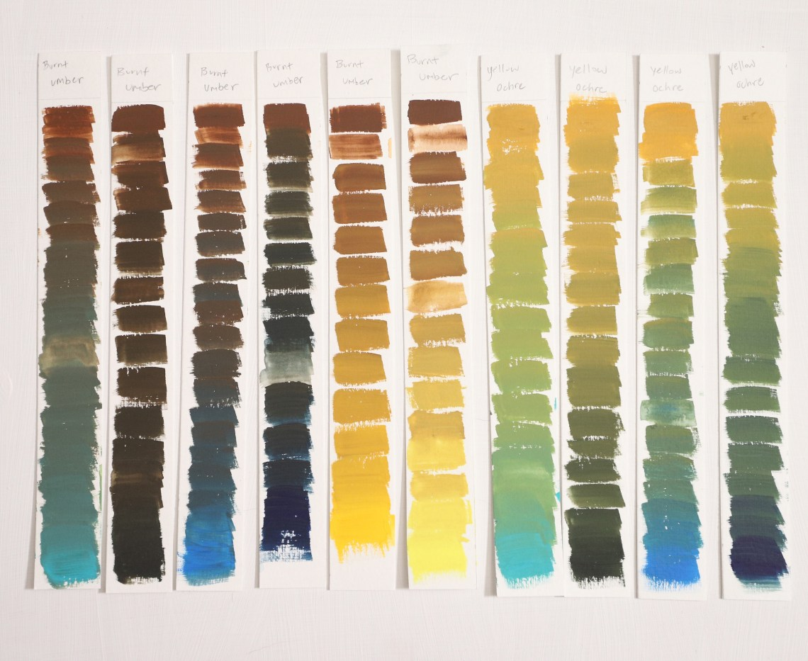 Burnt Umber and Yellow Ochre Gouache mixing chart