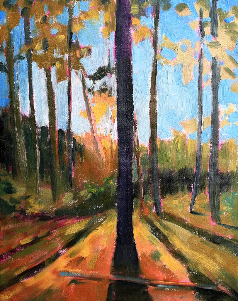 Forest study with oil paint using a pink underpainting