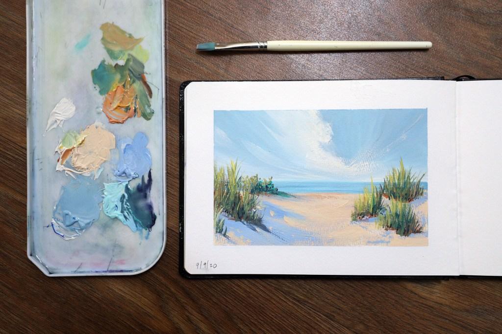Gouache sand dune painting