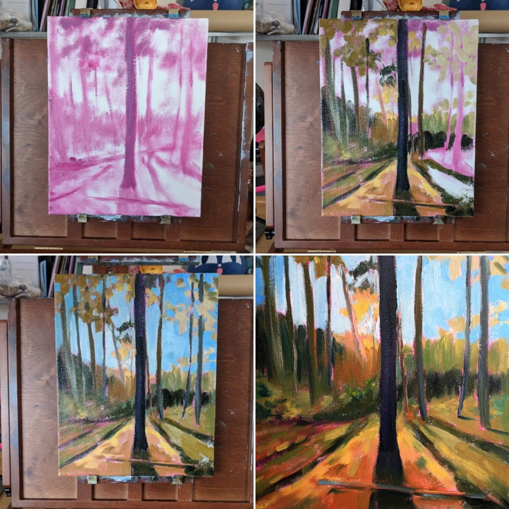Forest study with oil paint using a pink underpainting process