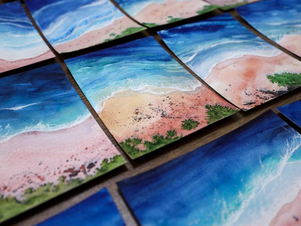 Watercolor coastal art postcards