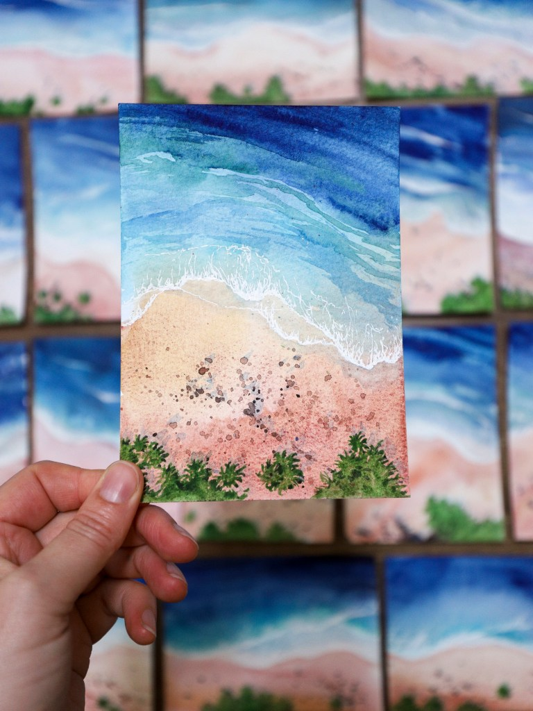 Watercolor seascape from above