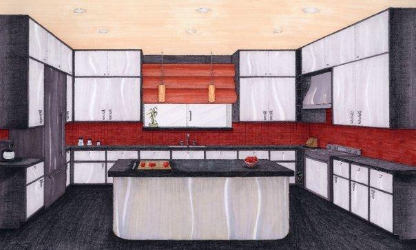Interior rendering with prisma pencils.
