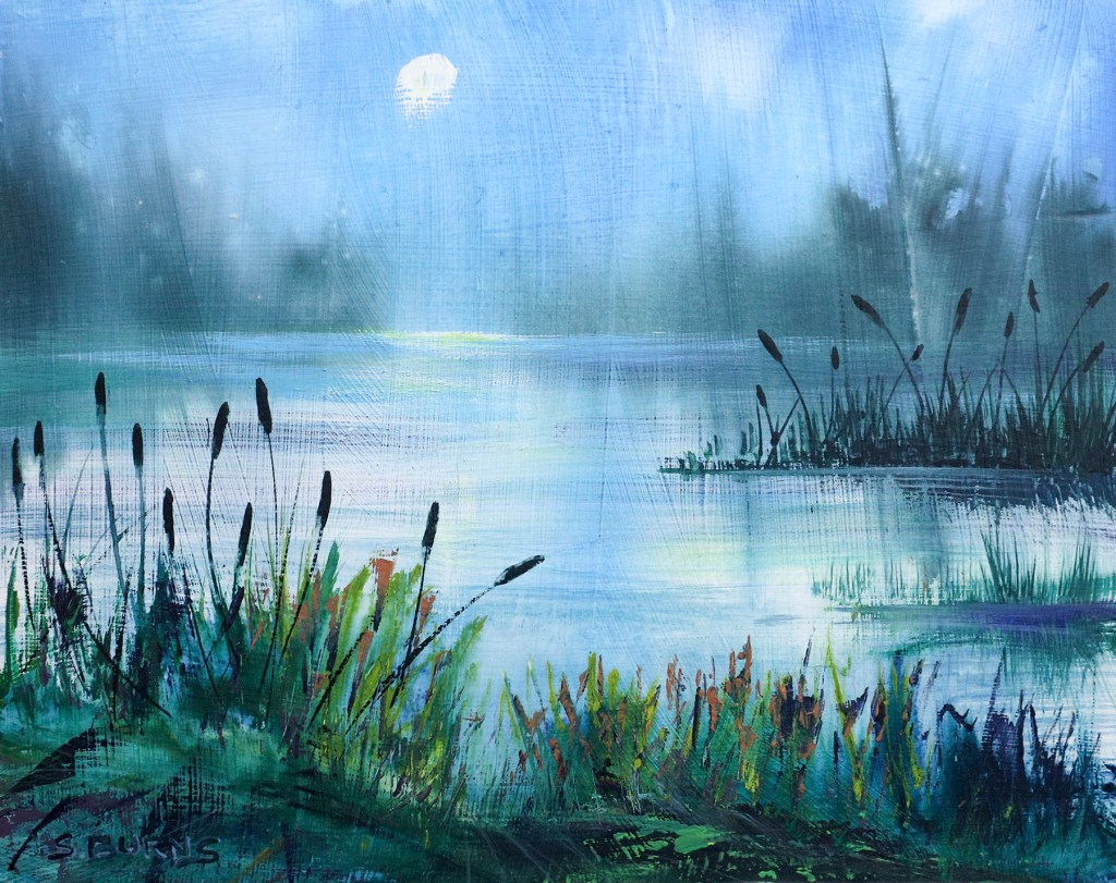 Cool Waters gouache painting by Sarah Burns