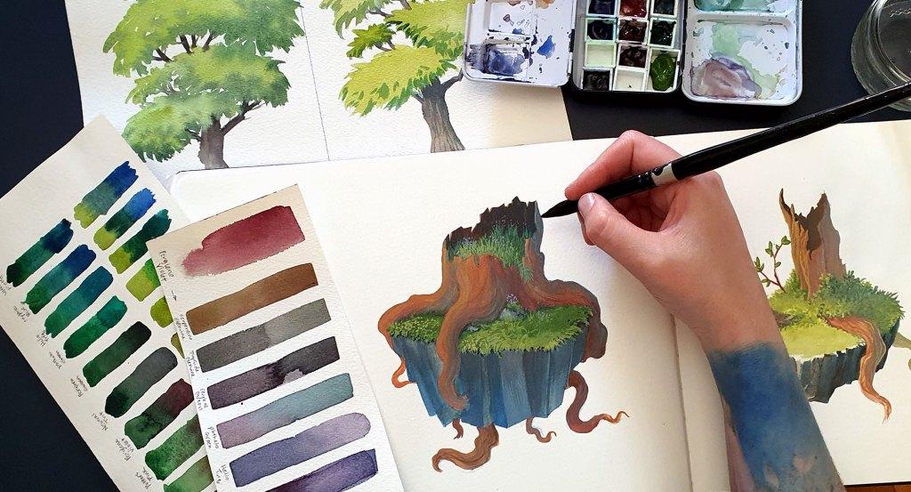 Drawing and Painting trees tutorial thumbnail