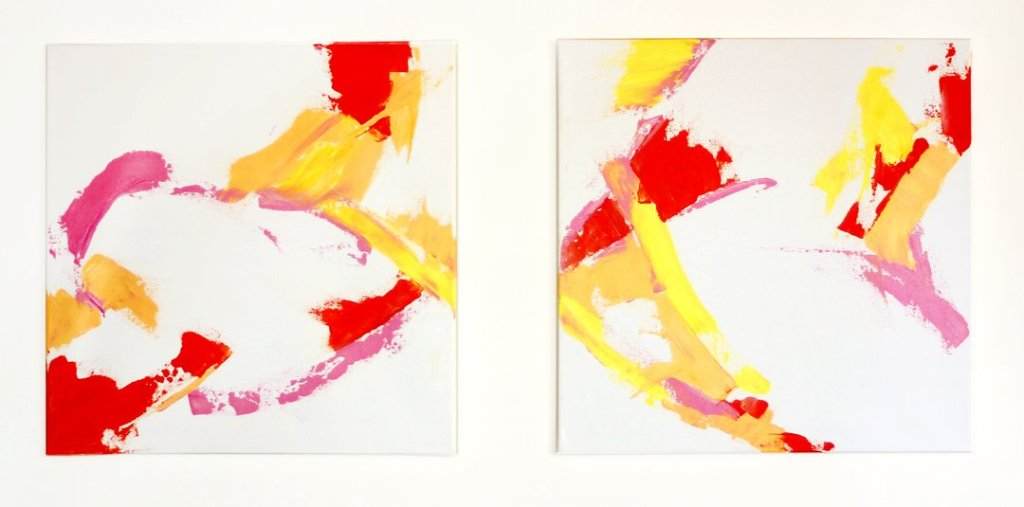Abstract art diptych