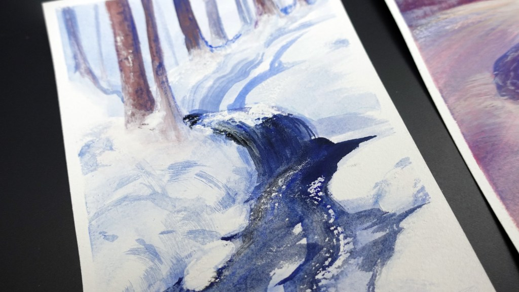 Dark water flowing in the snowy forest, gouache painting.