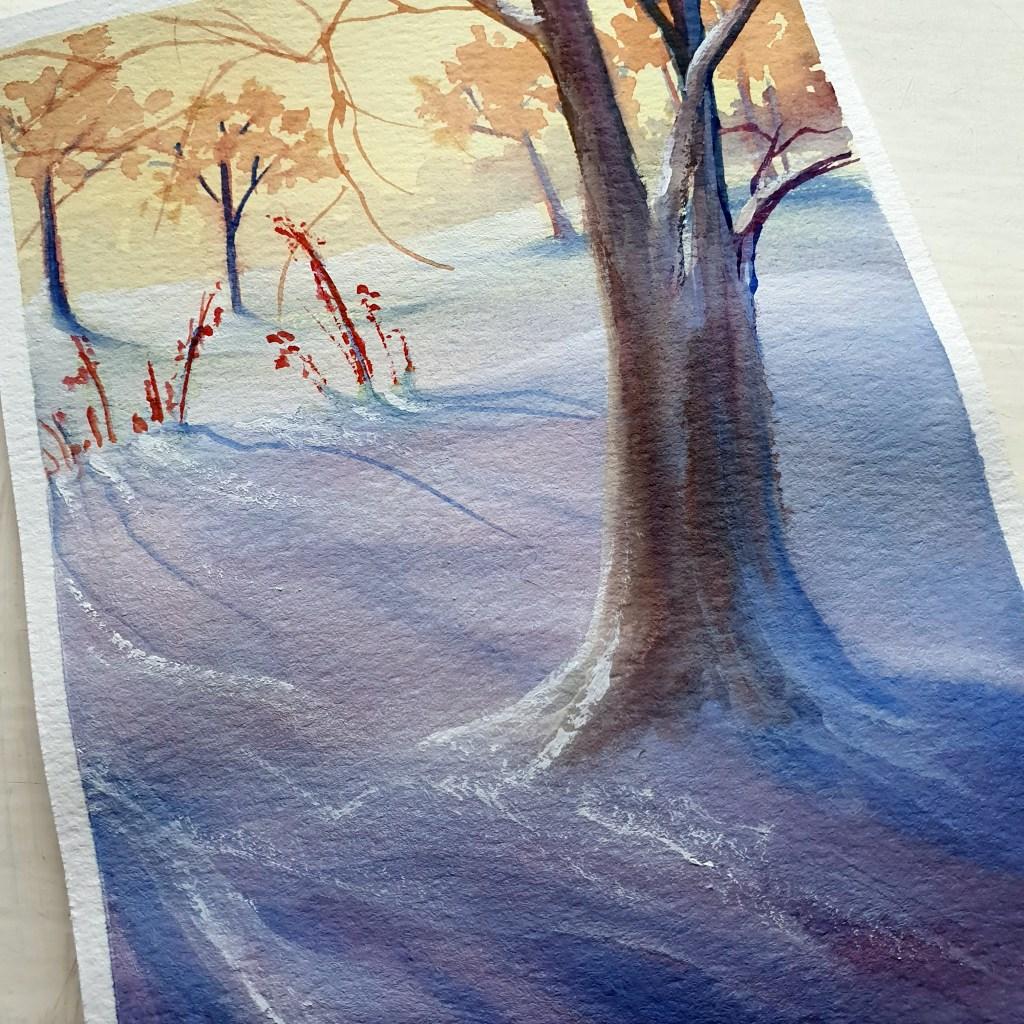 colorful snow gouache painting