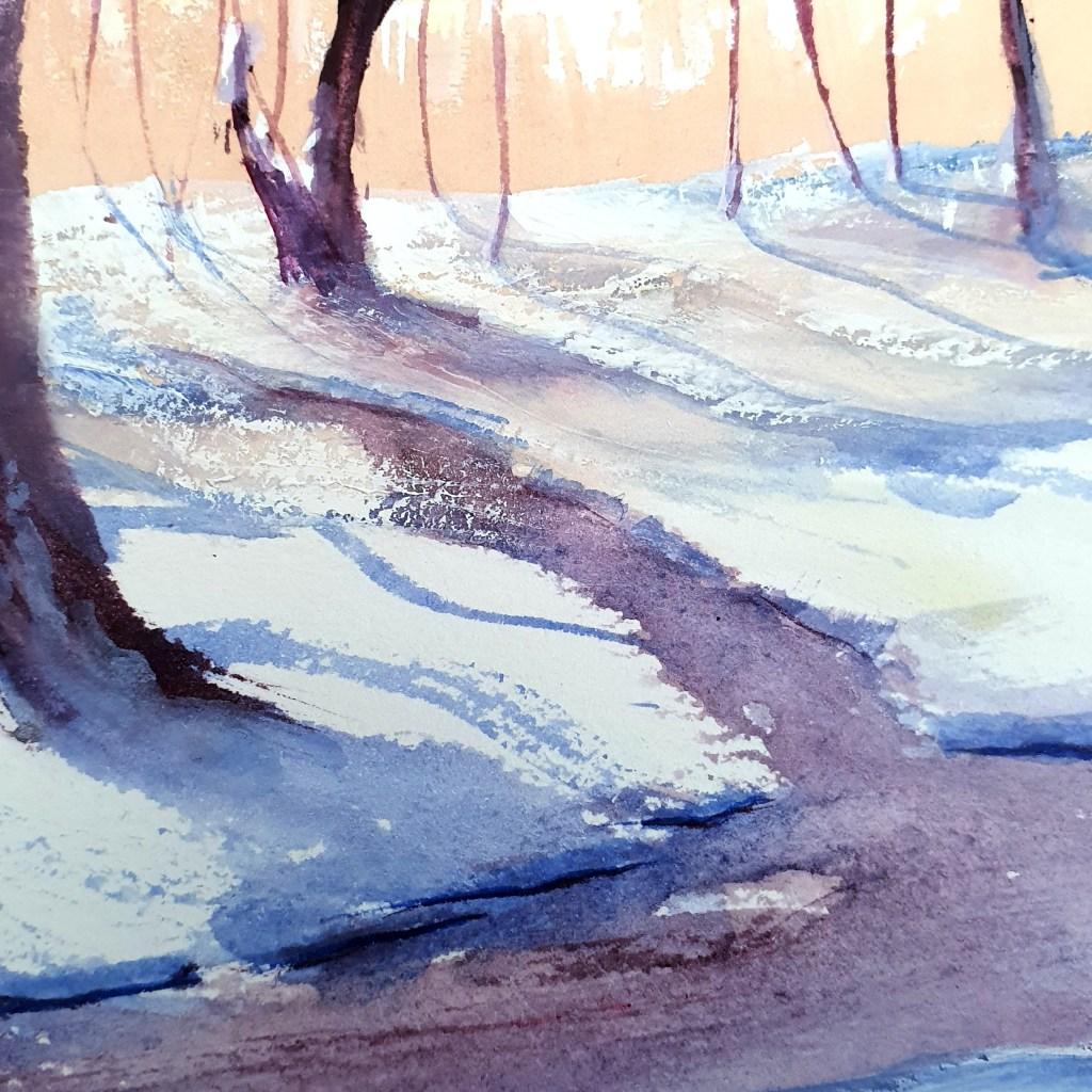 Closeup of snowy gouache forest