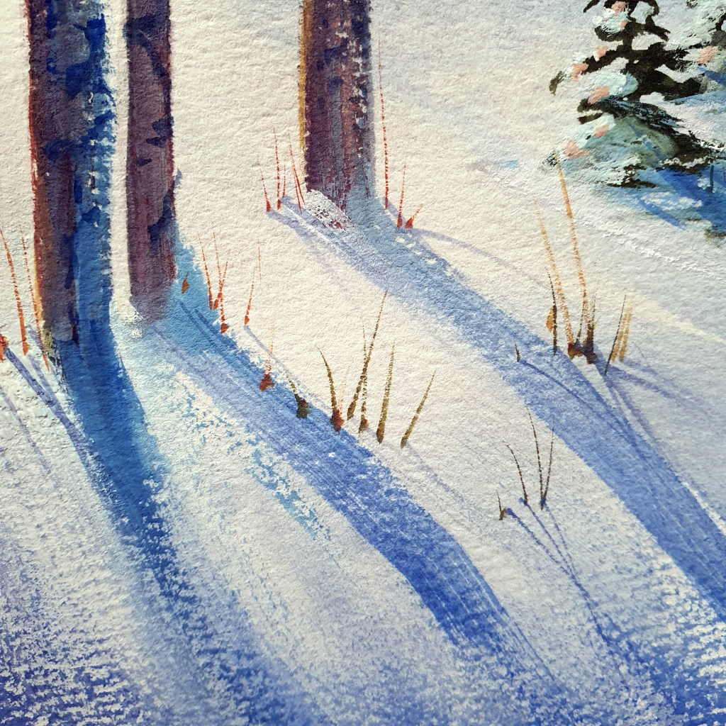 Gouache snowy forest paintings with dry brush texture