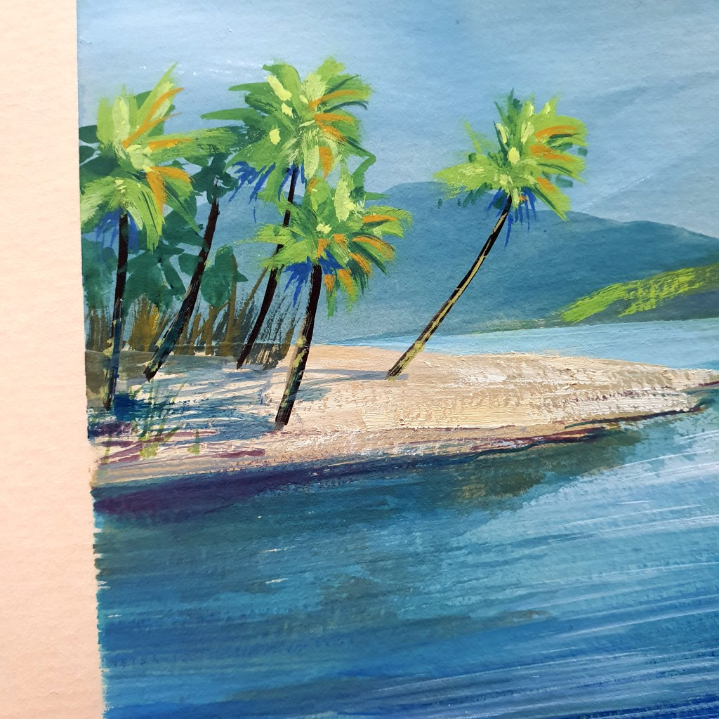 Bright tropical coastline with leaning palm trees, gouache painting.