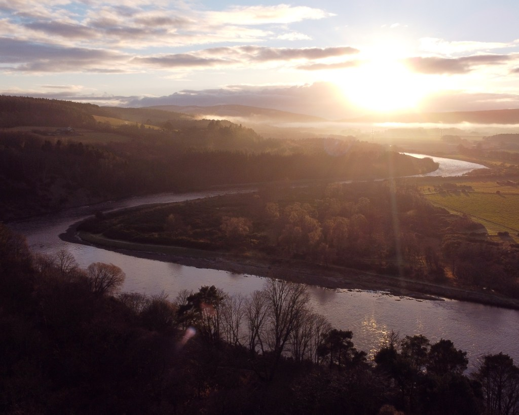 Sunset over the River Spey in Morayshire, Scotland