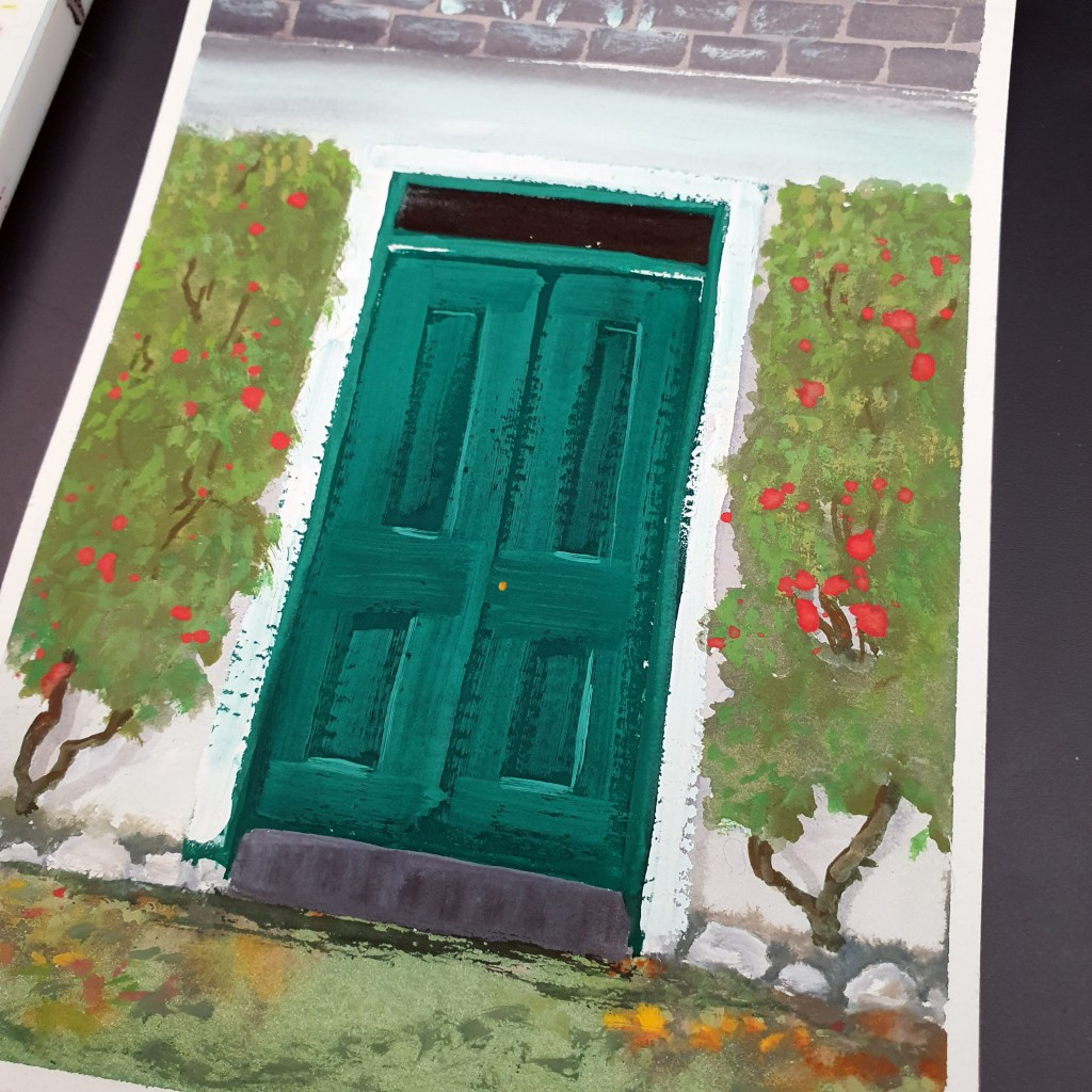 Closeup of gouache painting of a green door