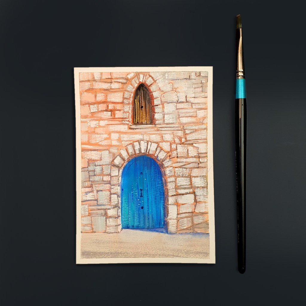 Gouache painting of an old stone building with a blue door