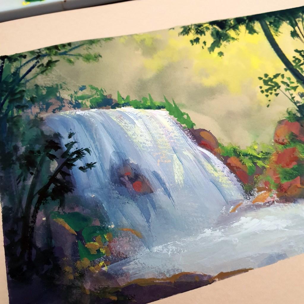 Forest waterfall gouache landscape