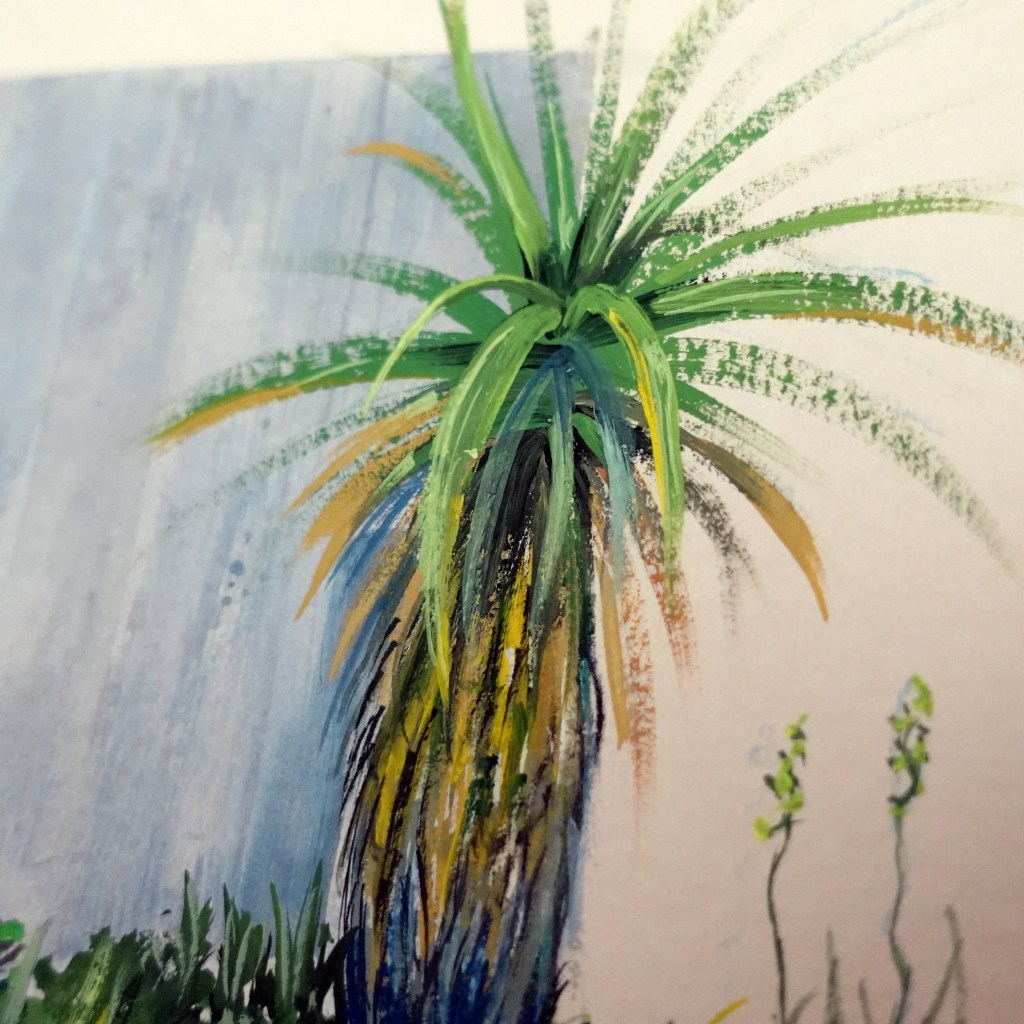 Closeup of palm tree painting with gouache