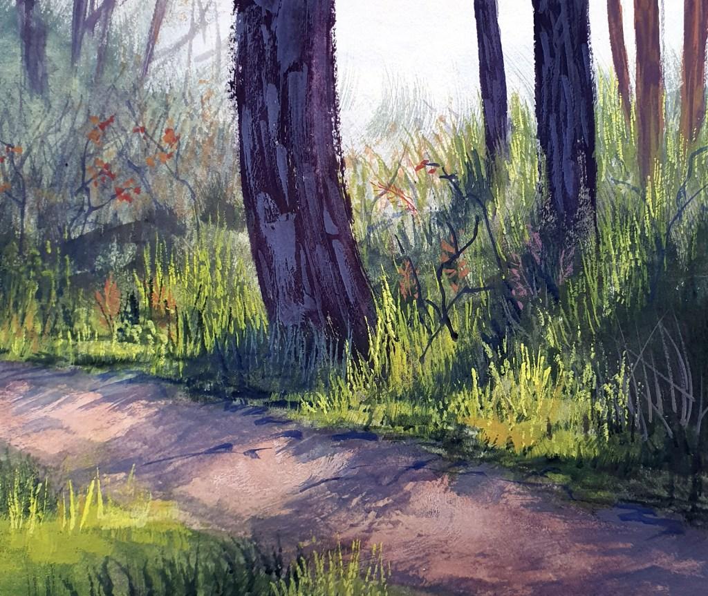 Forest gouache tutorial