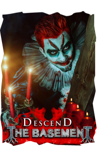 Descend the Basement attraction poster for the new haunted house at Fear Overload.